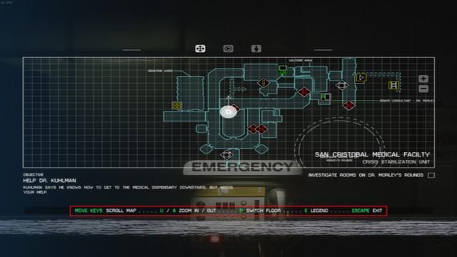 Mapa z hry Alien: Isolation bez použitia ovládača